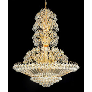 Sirius Gold Thirty-Three Light 36-Inch Pendant with Royal Cut Clear Crystal