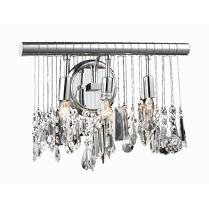 Chorus Line Chrome Three-Light Island Pendant with Royal Cut Clear Crystal