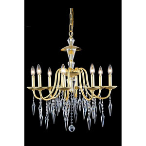 Gracieux Polished Gold Eight-Light Chandelier with Elegant Cut Crystal