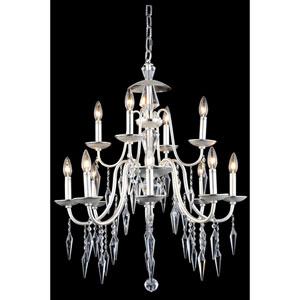 Gracieux Polished Silver 12-Light Chandelier with Elegant Cut Crystal