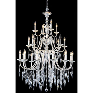 Gracieux Polished Silver 24-Light Chandelier with Elegant Cut Crystal