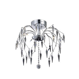 Amour Chrome Eight-Light Chandelier with Elegant Cut Crystal