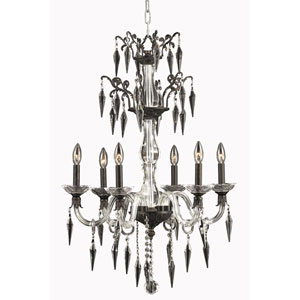 Grande Dark Bonze Six-Light Chandelier with Elegant Cut Crystal