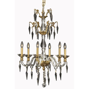 Grande French Gold Six-Light Chandelier with Elegant Cut Crystal