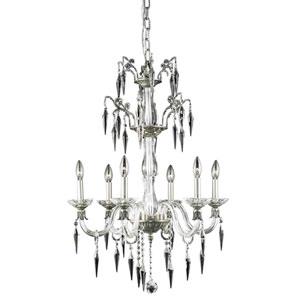 Grande Pewter Six-Light Chandelier with Elegant Cut Crystal