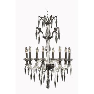Grande Dark Bronze Eight-Light Chandelier with Elegant Cut Crystal