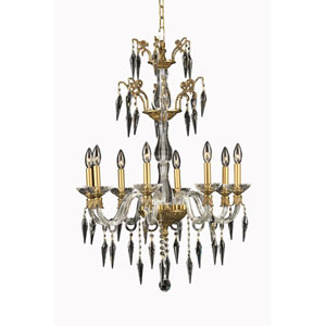 Grande French Gold Eight-Light Chandelier with Elegant Cut Crystal
