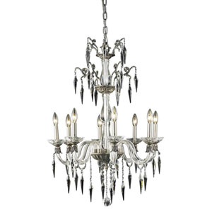 Grande Pewter Eight-Light Chandelier with Elegant Cut Crystal