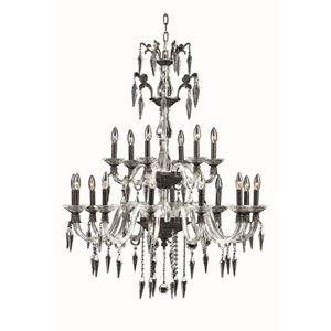 Grande Dark Bronze 18-Light Chandelier with Elegant Cut Crystal