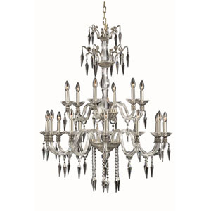 Grande French Gold 18-Light Chandelier with Elegant Cut Crystal
