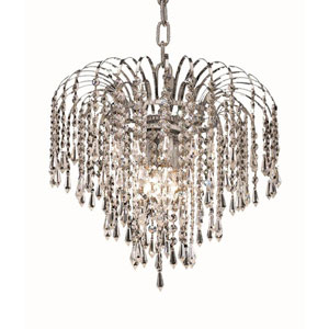Falls Chrome Four-Light 14-Inch Pendant with Royal Cut Clear Crystal