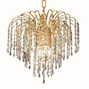 Falls Gold Four-Light 14-Inch Pendant with Royal Cut Clear Crystal