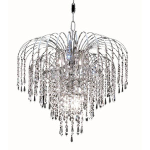 Falls Chrome Six-Light 19-Inch Pendant with Royal Cut Clear Crystal