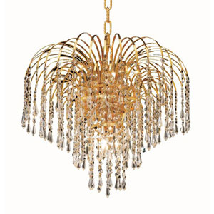 Falls Gold Six-Light 19-Inch Pendant with Royal Cut Clear Crystal