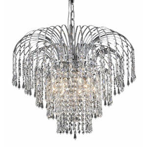 Falls Chrome Six-Light 21-Inch Chandelier with Royal Cut Clear Crystal