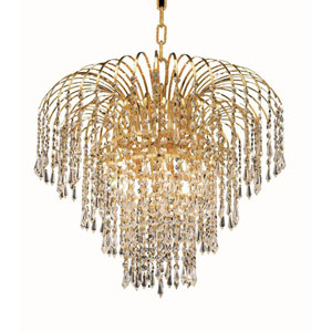 Falls Gold Six-Light 21-Inch Chandelier with Royal Cut Clear Crystal