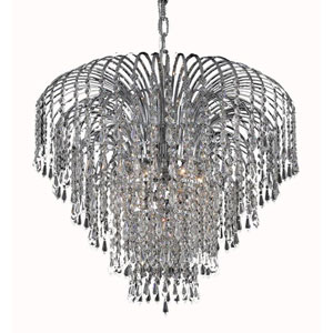 Falls Chrome Six-Light 25-Inch Chandelier with Royal Cut Clear Crystal