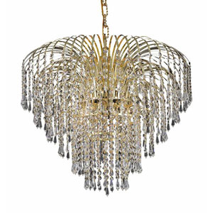 Falls Gold Six-Light 25-Inch Chandelier with Royal Cut Clear Crystal