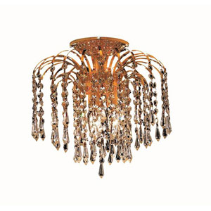 Falls Gold Three-Light 12-Inch Flush Mount with Royal Cut Clear Crystal