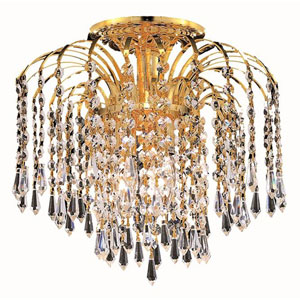Falls Gold Four-Light 16-Inch Flush Mount with Royal Cut Clear Crystal