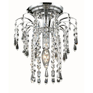 Falls Chrome One-Light 9-Inch Flush Mount with Royal Cut Clear Crystal
