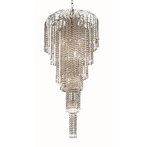 Falls Chrome Nine-Light 19-Inch Chandelier with Royal Cut Clear Crystal