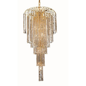 Falls Gold Nine-Light 19-Inch Chandelier with Royal Cut Clear Crystal