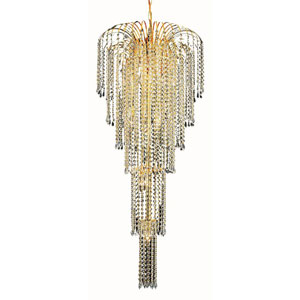 Falls Gold Nine-Light 21-Inch Chandelier with Royal Cut Clear Crystal