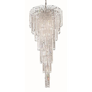 Falls Chrome Eleven-Light 25-Inch Chandelier with Royal Cut Clear Crystal