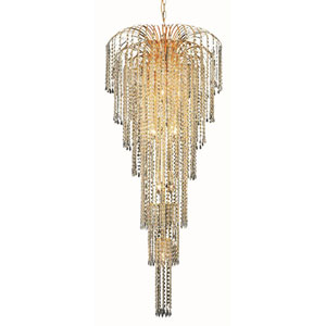 Falls Gold Eleven-Light 25-Inch Chandelier with Royal Cut Clear Crystal