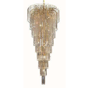 Falls Gold Fifteen-Light 30-Inch Chandelier with Royal Cut Clear Crystal