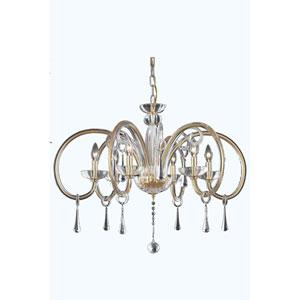Scroll Gold Six-Light Chandelier with Swarovski Strass Crystal