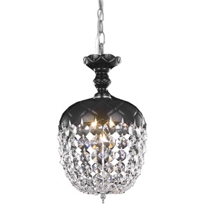 Rococo Chrome Single Light Chandelier with Jet/Black Royal Cut Crystals