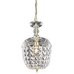 Rococo Chrome Single Light Chandelier with Clear Royal Cut Crystals