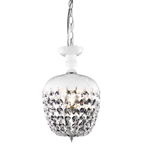 Rococo Chrome Single Light Chandelier with White Royal Cut Crystals