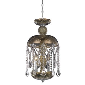 Rococo Chrome Three-Light Chandelier with Golden Teak/Smoky Royal Cut Crystals