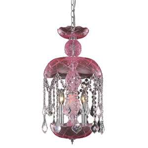 Rococo Chrome Three-Light Chandelier with Rosaline/Pink Royal Cut Crystals