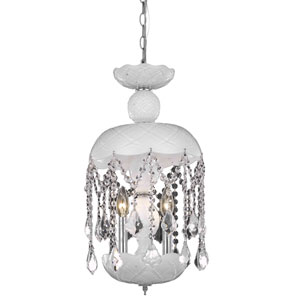 Rococo Chrome Three-Light Chandelier with White Royal Cut Crystals