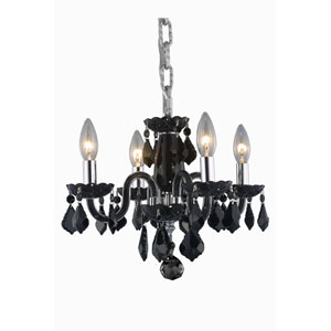 Rococo Black Four-Light Chandelier with Jet/Black Royal Cut Crystals