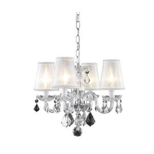 Rococo Chrome Four-Light Chandelier with Clear Royal Cut Crystal