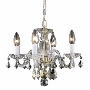 Rococo Gold Four-Light Chandelier with Clear Royal Cut Crystals