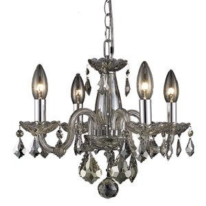 Rococo Golden Teak Four-Light Chandelier with Golden Teak/Smoky Royal Cut Crystals
