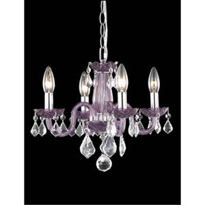 Rococo Purple Four-Light Chandelier with Clear Royal Cut Crystals