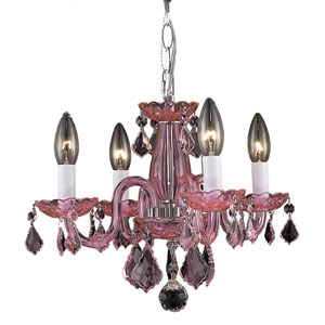 Rococo Pink Four-Light Chandelier with Rosaline/Pink Royal Cut Crystals