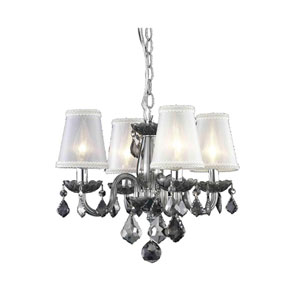 Rococo Silver Shadow Four-Light Chandelier with Silver Shade Royal Cut Crystal