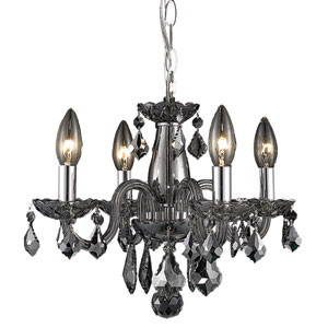 Rococo Silver Shade Four-Light Chandelier with Royal Cut Crystals