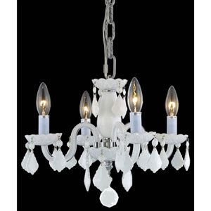 Rococo White Four-Light Chandelier with White Royal Cut Crystals