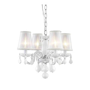 Rococo White Four-Light Chandelier with Royal Cut
