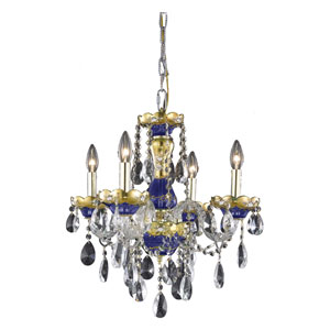 Alexandria Blue Four-Light Chandelier with Clear Royal Cut Crystals