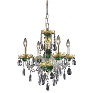 Alexandria Green Four-Light Chandelier with Clear Royal Cut Crystals